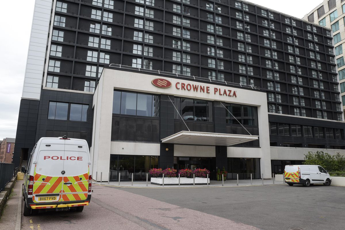 Police at the Crowne Plaza Hotel, off Holliday Street, in Birmingham. Photo: Snapper SK