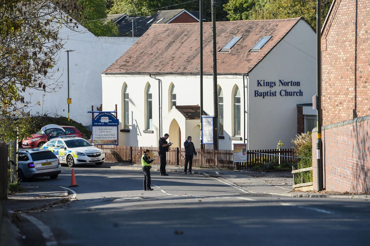 Police at the scene near Chapel Walk, in Kings Norton. Photo: SnapperSK