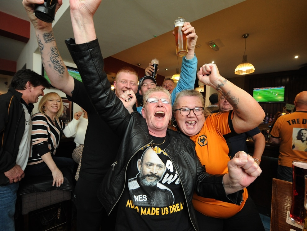 wolves fans pack citycentre pubs to watch devastating