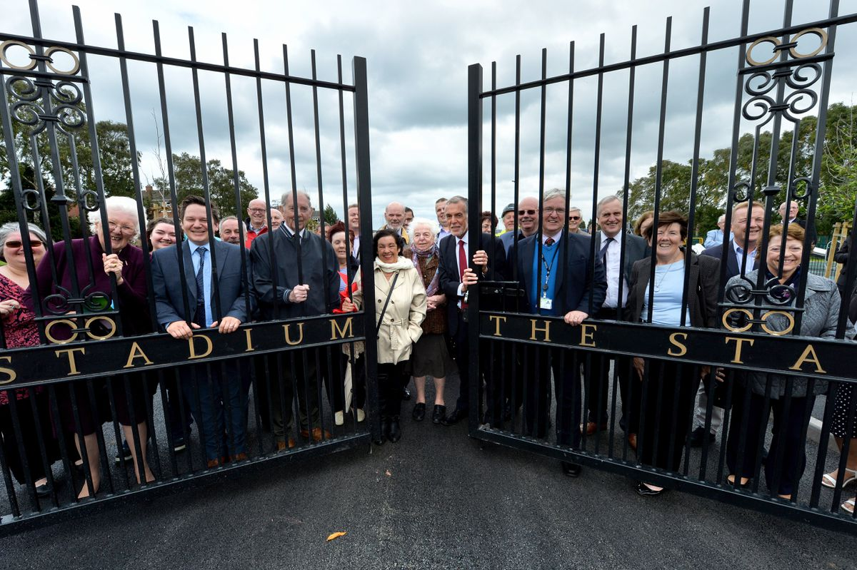 Councillor Christine Mitchell with council leader George Adamson, front, with members of the community at the former Cannock Stadium site