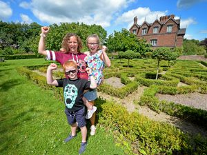 Moseley Old Hall, Wolverhampton, reopens the grounds to the public after lockdown. Samantha Smith from Wombourne, with children Peyton, aged 10 and Kai, aged 6