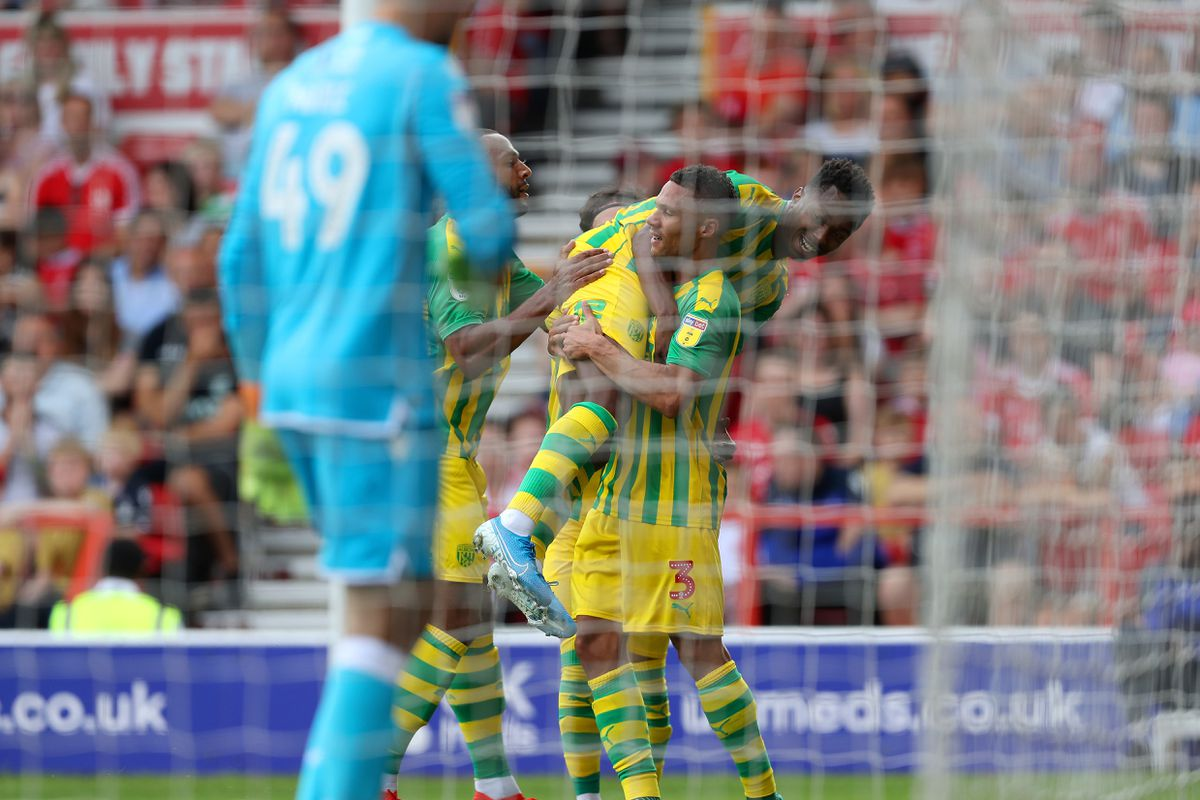 Kyle Edwards of West Bromwich Albion celebrates after scoring a goal to make it 1-1 with Kieran Gibbs of West Bromwich Albion. (AMA)