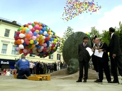 Flashback to 2001: Crowds gathering at civic square opening