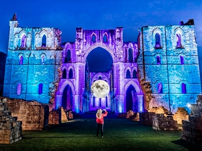 In Pictures: Replica of moon lights up abbey ruins