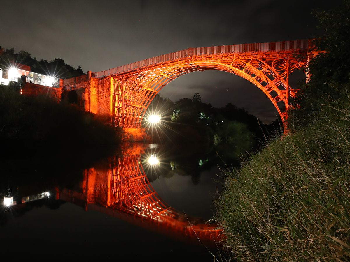 The Iron Bridge in Telford lit up to mark the Festival of Imagination