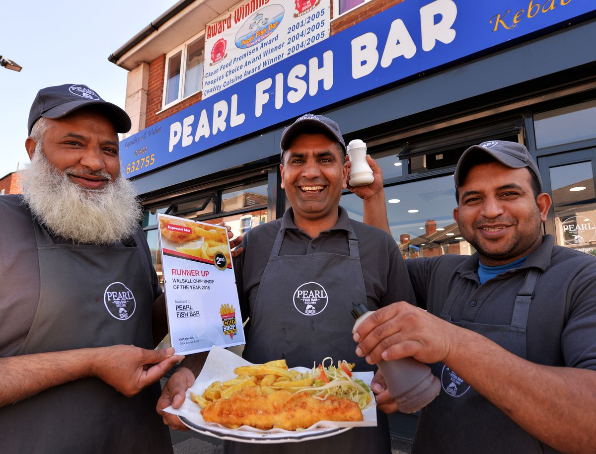 Runner up in the Walsall chip shop of the year , Pearl Fish Bar. Pictured left , Ashiq Hussain , Shamim Ahmed , Asif Mehmood..