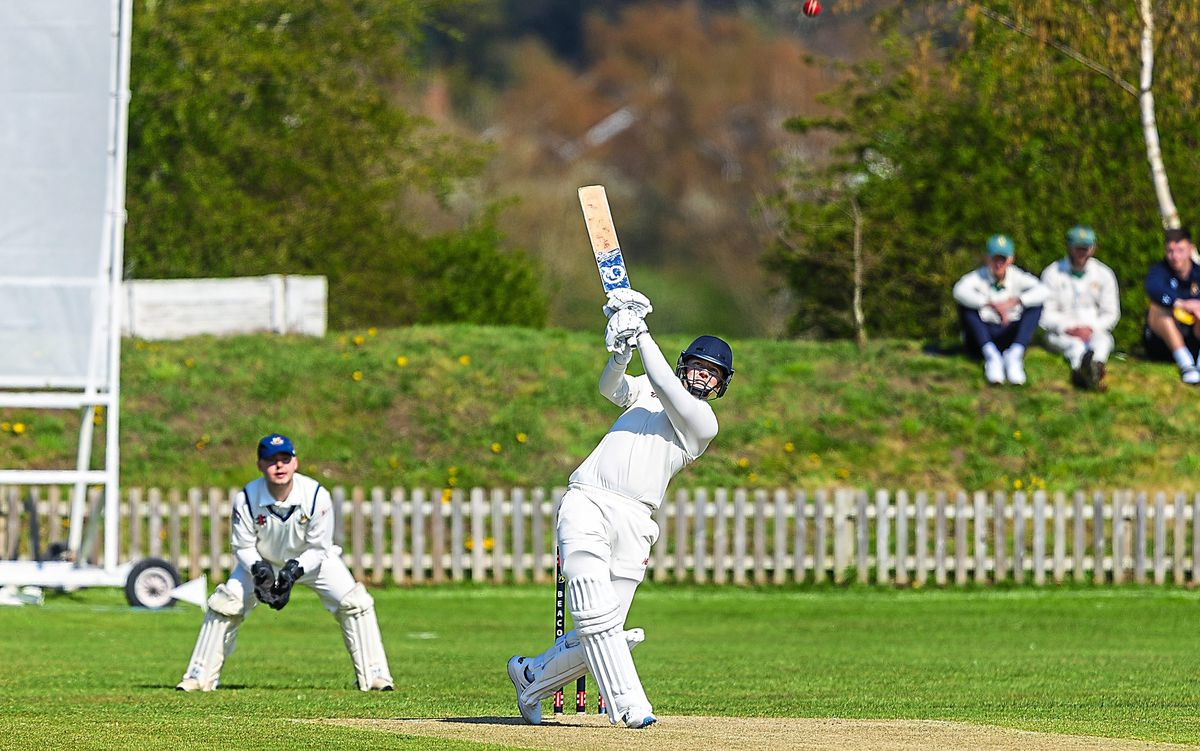 Milford Hall's Sam Beales on his way to making a century on his debut against Beacon (Pic: Stuart Leggett)
