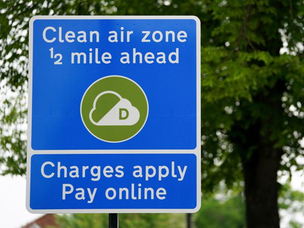 """Embargoed to 0001 Tuesday June 01 ..Signs in Birmingham informing road users of the clean air zone initiative, which will come into place on June 1. The scheme, which was originally due to go live during 2020 but was postponed due to the coronavirus pandemic, has been described by the AA as having """"good intentions but bad flaws"""". Picture date: Saturday May 29, 2021. PA Photo. See PA story TRANSPORT Birmingham. Photo credit should read: Jacob King/PA Wire."""