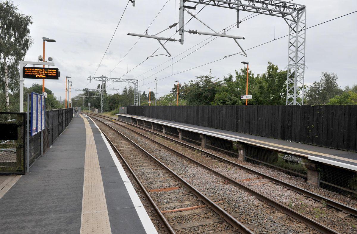The station platform at Cannock Railway Station