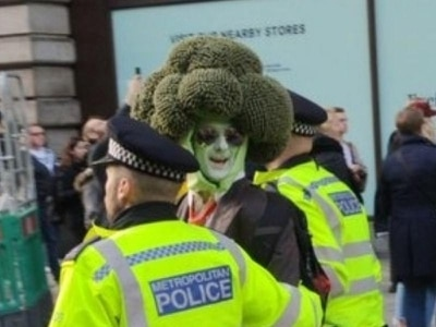 Man dressed as broccoli arrested at Extinction Rebellion protests