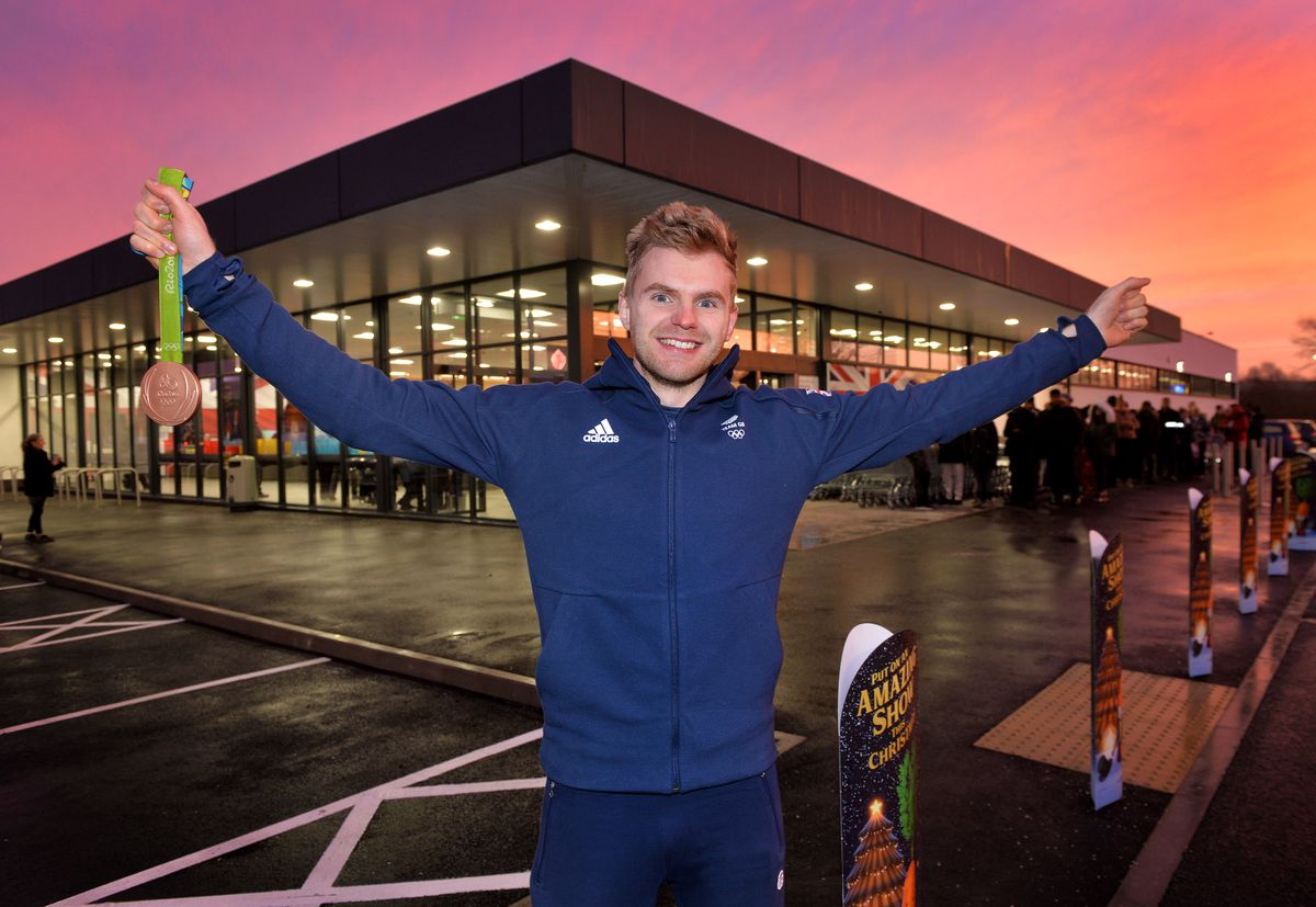 Olympic medallist Marcus Ellis opens the new Aldi on South street, Willenhall