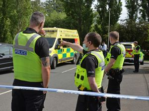Emergency services at the scene in Dudley Wood