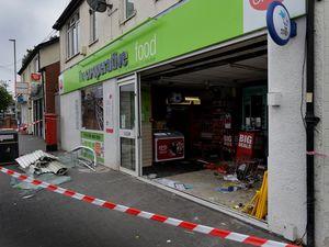 The damaged shop front