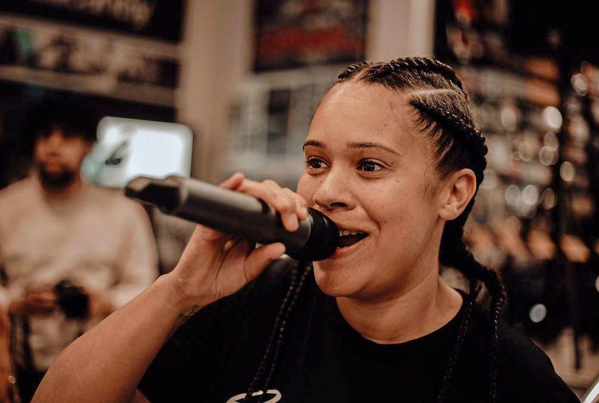 Sophielou performing at Wolverhampton's HMV store. Photo: ShotbySensei