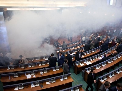 Kosovo parliament vote on border deal halted by tear gas