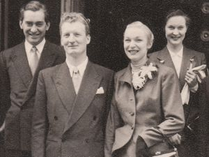 Larry Stephens with his wife Diana on their wedding day with Tony Hancock and his wife Cicely in 1950