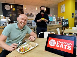 Adam Corfield, pictured with with Macro Cafe manager Simon Williams, has launched the Stafford Eats project