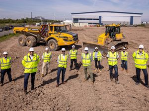 Jon Robinson, Henry Bellfield and Jon Mott (all of Barberry), Paul Burt (ISG) and Stuart Dean (RPS), are joined by members of the project team at the Richardson Barberry More+ Central Park development in Avonmouth, Bristol.About Barberry Group