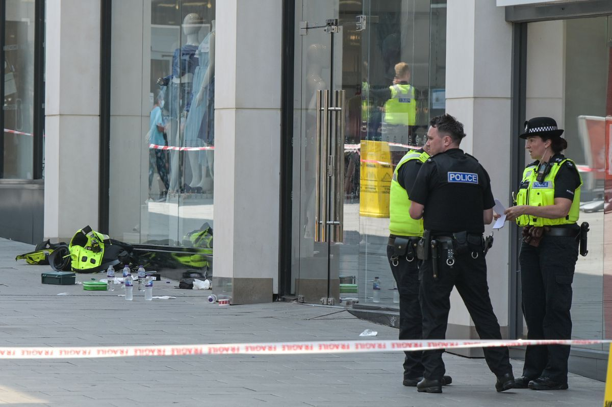 Police at the New Square Shopping Centre in West Bromwich. Photo: SnapperSK
