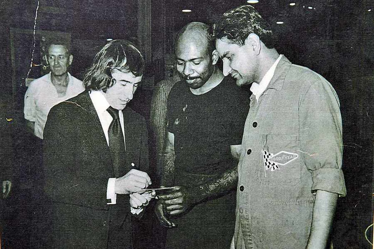 Gurdev Rai (on right) taken in the early 1960s with racing driver Jackie Stewart
