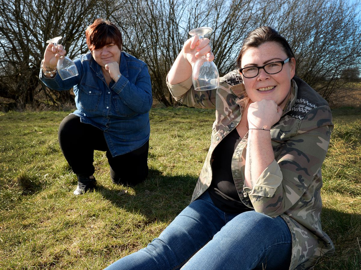 Linz Lockhart and Becky James from Stafford, who gave up the booze for January and February.