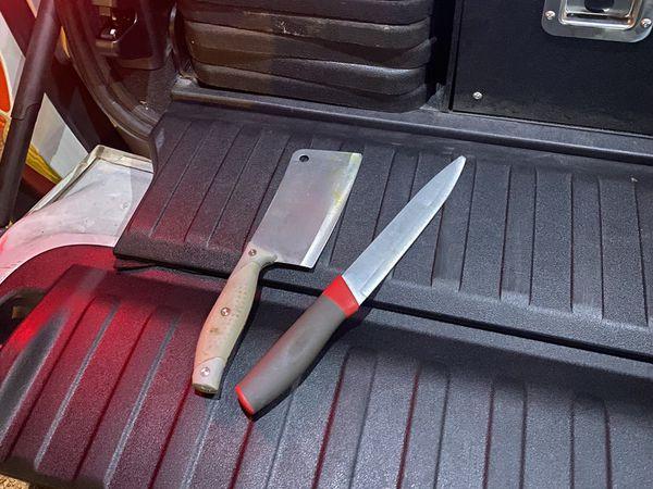A machete and knife deized by police. Photo: West Midlands Police