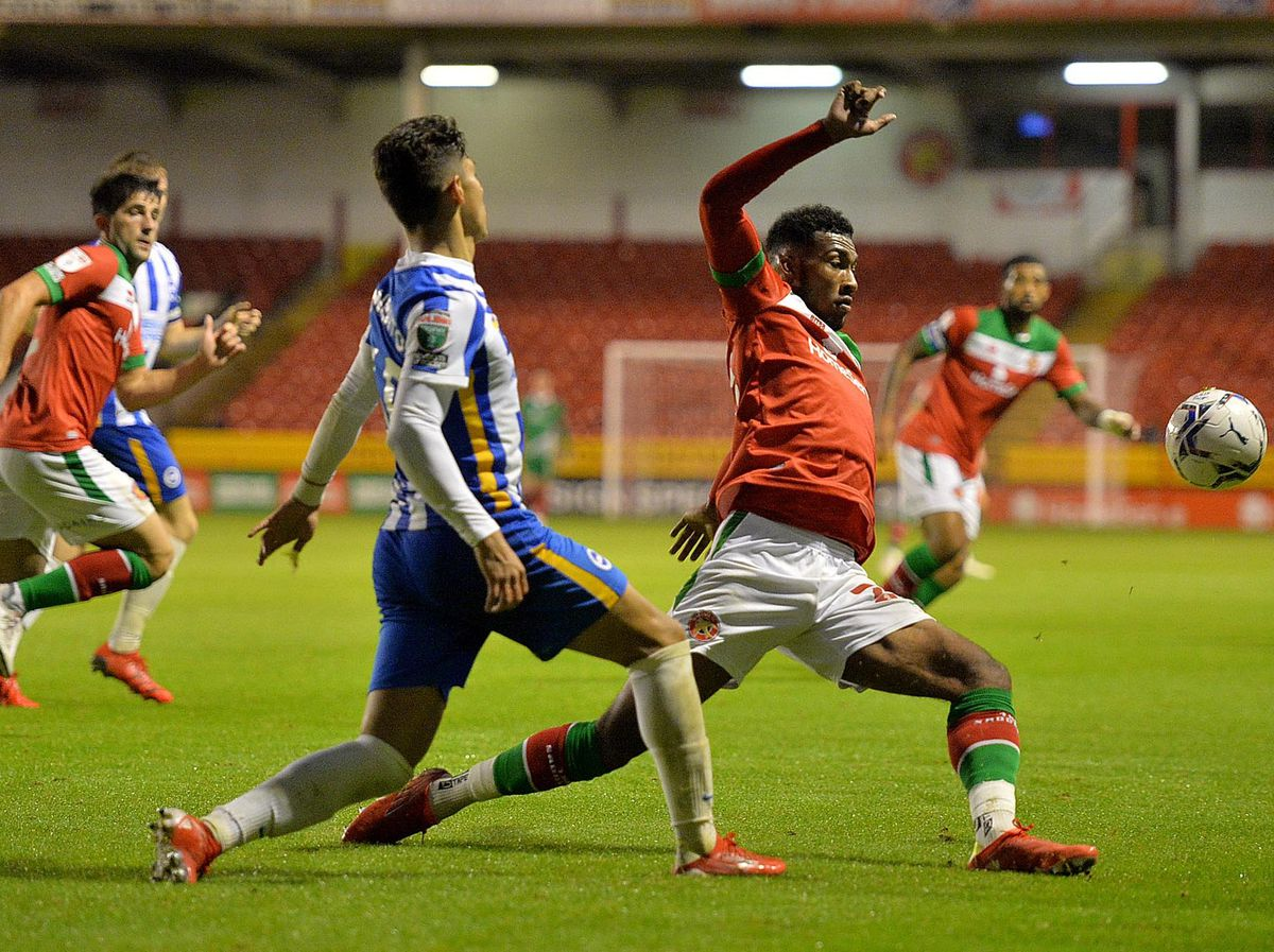SPORT COPYRIGHT EXPRESS AND STAR STEVE LEATH 14/09/2021..Walsall FC V Brighton & Hove Albion.  W: Tyrese Shade  V B:  Jeremy Sarimento..