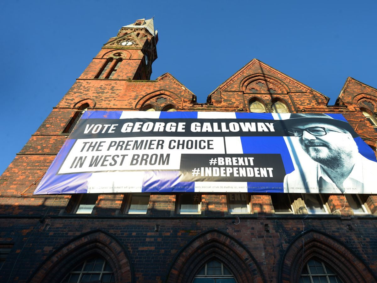 George Galloway has had this poster, made in familiar West Brom colours, hung up on former Kenrick building