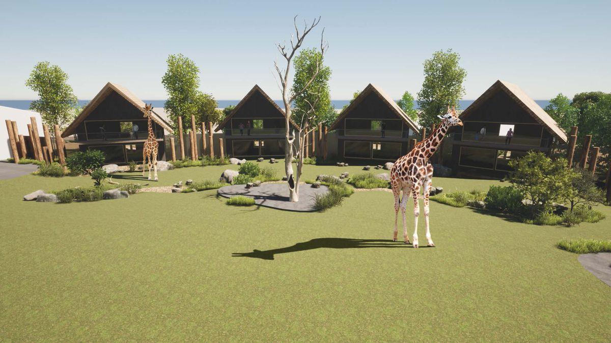3D concept render of the Giraffe Lodges exterior