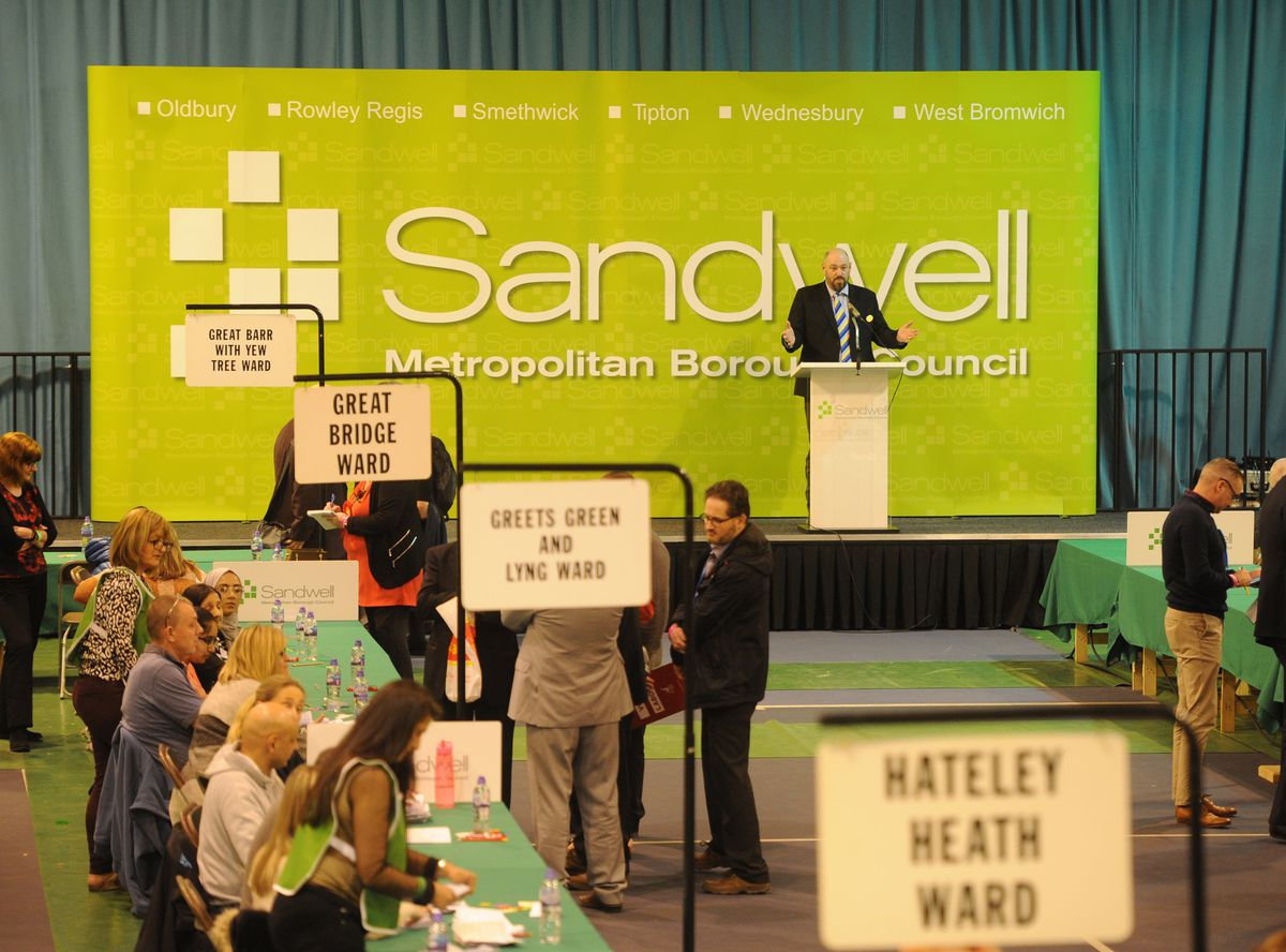 Jan Britton, chief executive of the council, speaks at the Sandwell count