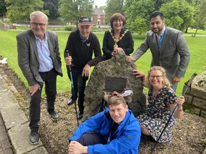 Cllrs Richard Body, Steve Waltho, Anne Millward, Mayor of Dudley and Shaz Saleem, with Cllrs Simon Phipps and Ruth Buttery