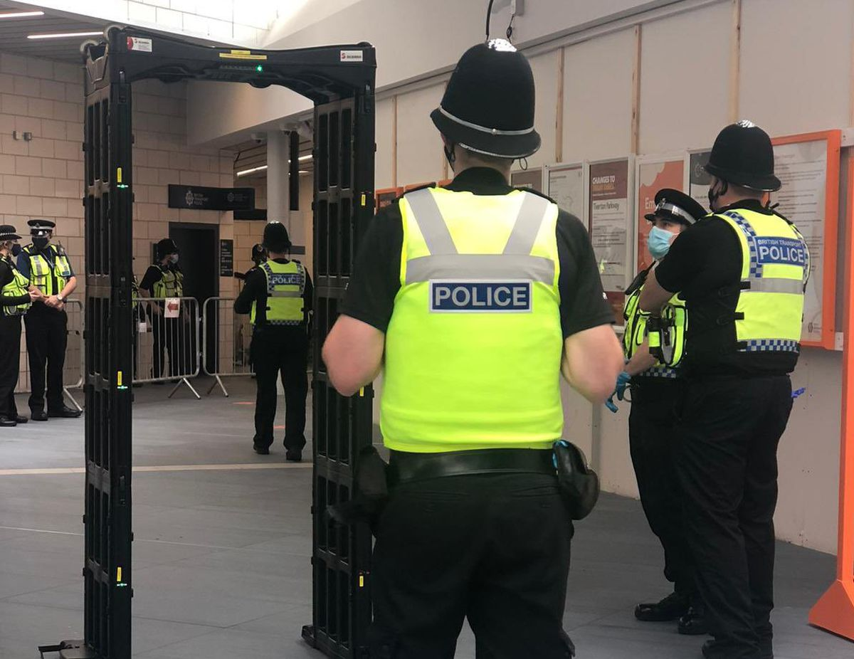Officers from British Transport Police were stationed throughout Wolverhampton Rail station (image by Safer Travel Police)