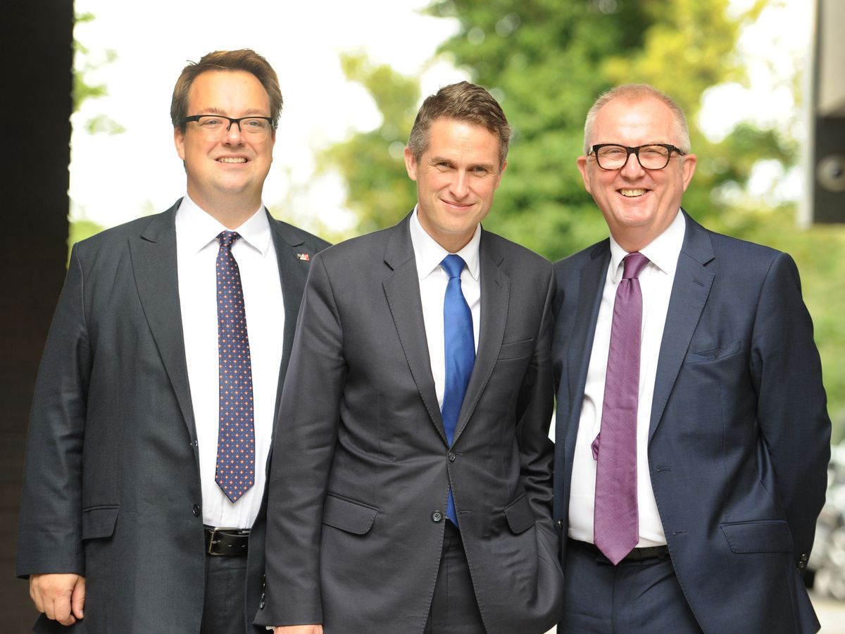 Dudley MPs Mike Wood (left) and Ian Austin (right) joined Education Secretary Gavin Williamson at Dudley College