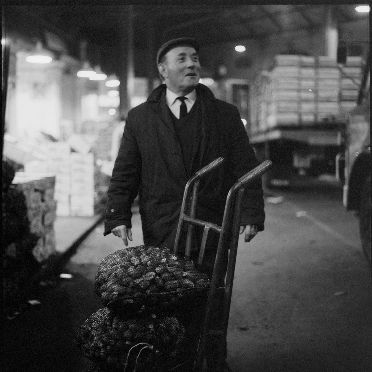 A porter during the last days of Wolverhampton's wholesale market on the site now occupied by the Civic Centre