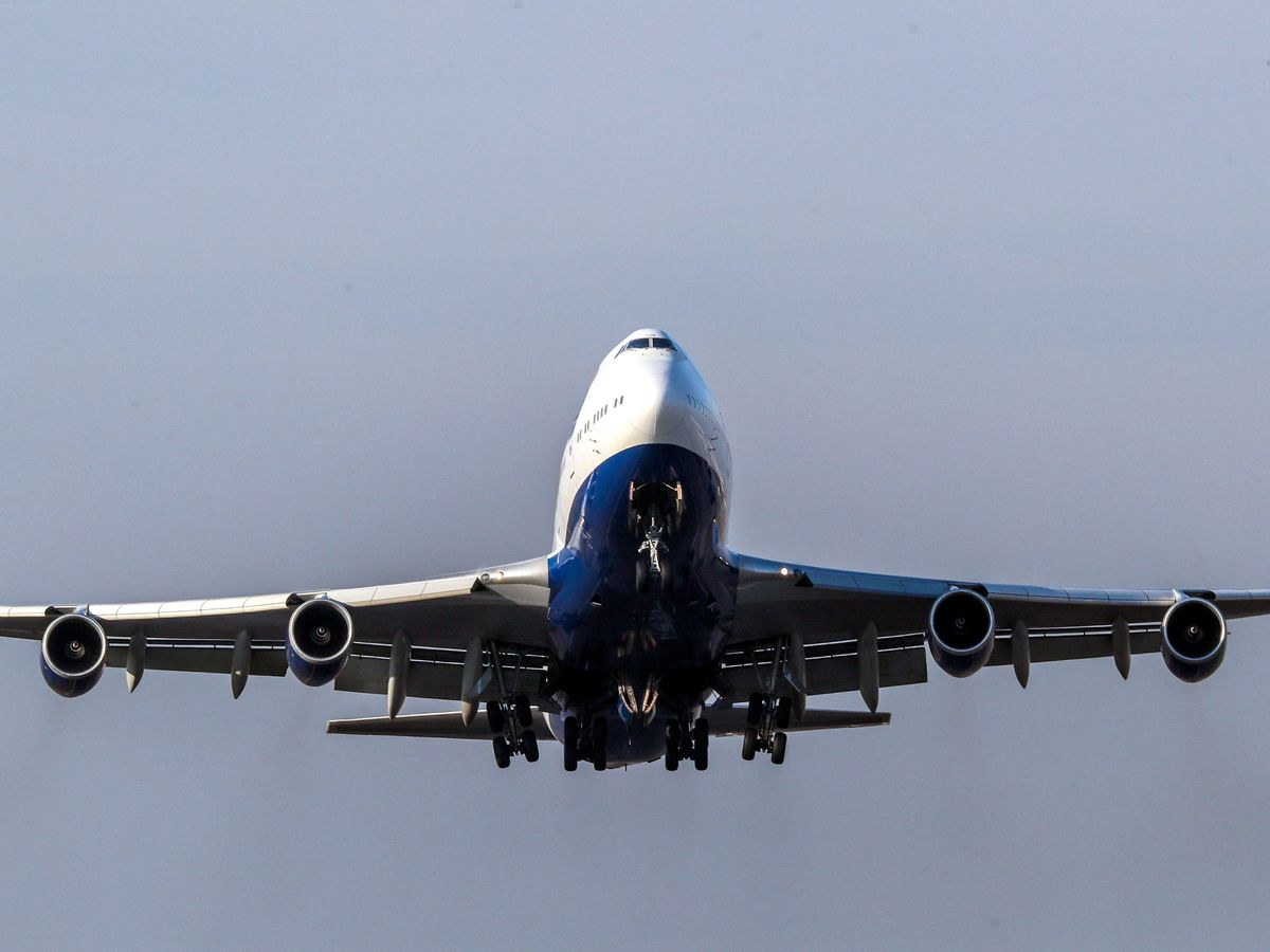 A plane takes off from Heathrow