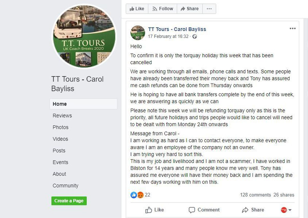 The TT Tours Facebook page has received dozens of complaints. Image: Facebook