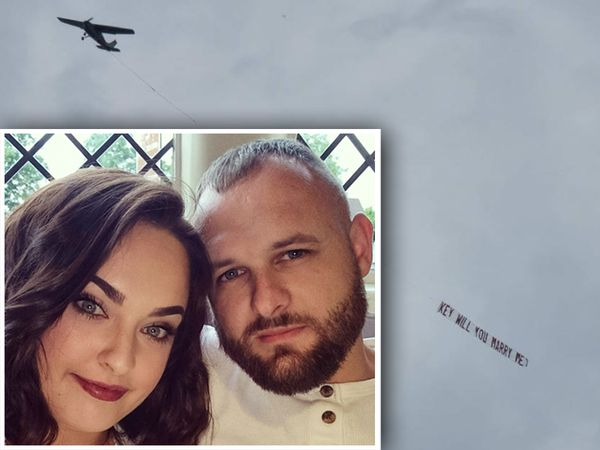Keeley Farndon and Nathan Cannon, inset, are engaged after an airborne proposal