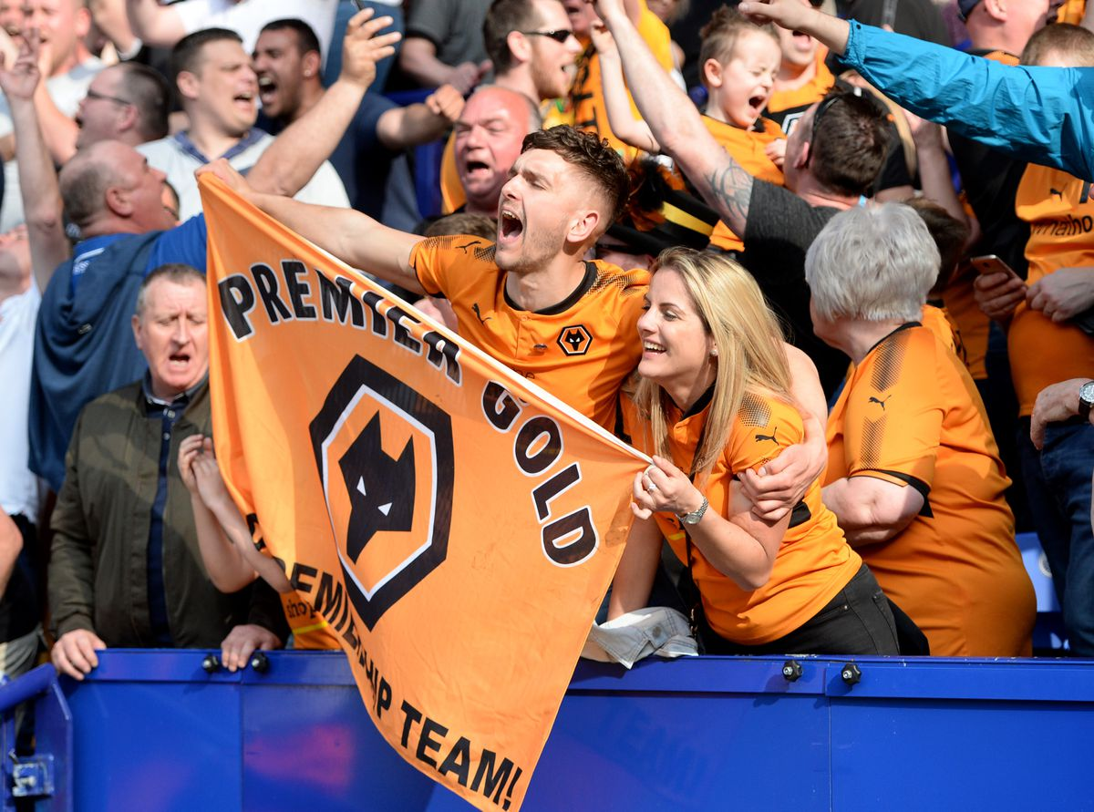 Wolves fans celebrate their team's return to the Premier League