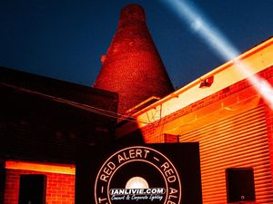 The Red House Glass Cone in Stourbridge was one of the venues which lit up red. Photo: Bran Holloway