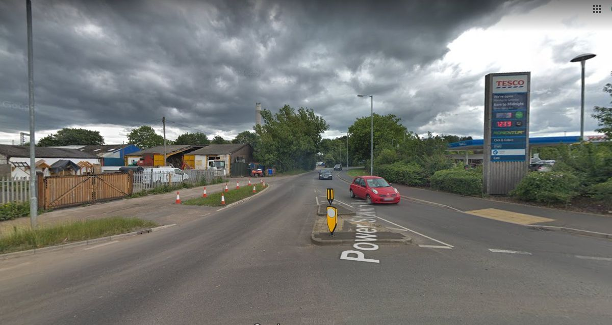 A Google Street View image of the timber yard on Power Station Road Rugeley where a new Aldi is set to be built opposite Tesco