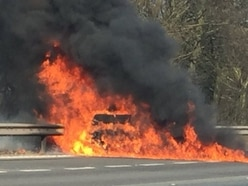 Dramatic M6 car blaze shuts two lanes near Cannock