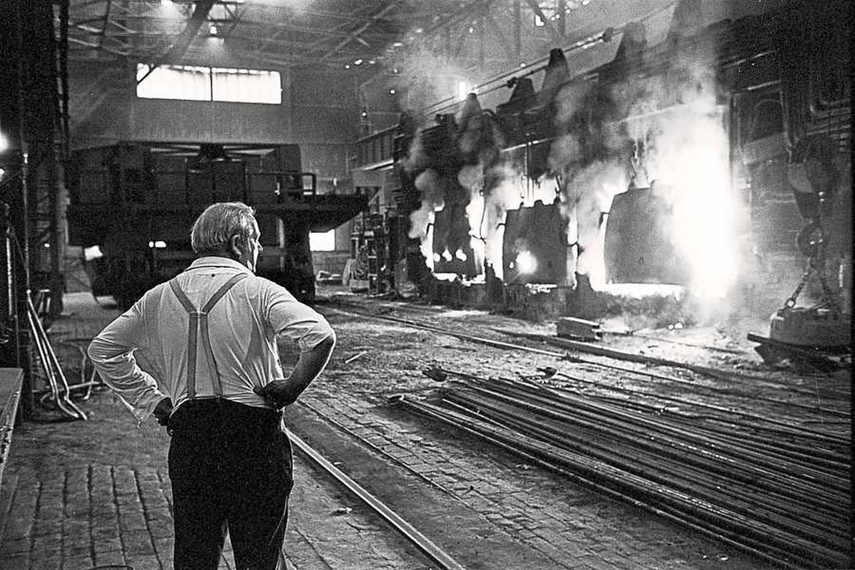 'Blitz and the furnaces' a photograph taken at Bilston Steelworks by Nick Hedges