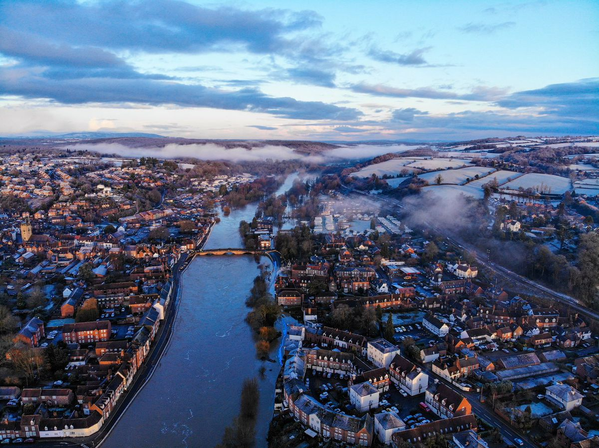 An aerial view of the flooding in Bewdley. Photo: @sabphotos69