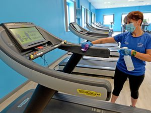CANNOCK  COPYRIGHT TIM STURGESS EXPRESS AND STAR...... 23/07/2020..... Cannock chase leisure centre reopens on Saturday 25th july.  Pictured, fitness co 0rdinator Natalie Cadwallader  makes sure things are ready for Saturday....