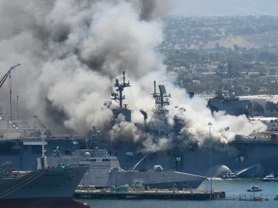 21 injured after explosion and fire on US navy ship