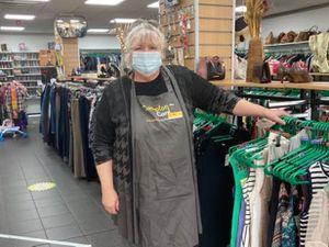 Volunteer Linda at the Compton shop
