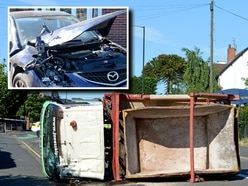 Two cars badly damaged as skip truck overturns near Walsall Academy