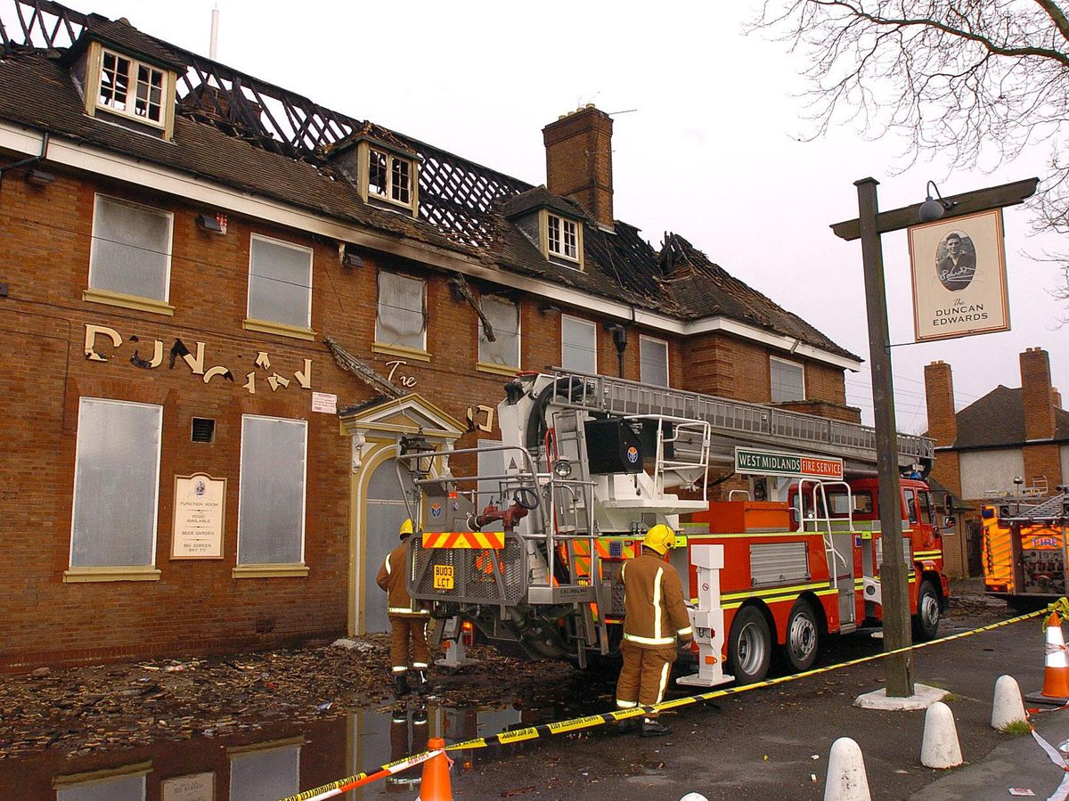 The Duncan Edwards pub after it was wrecked in a fire in 2006