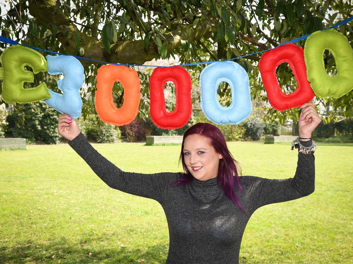 Bee Murton celebrates her £300,000 lottery win