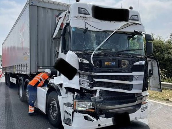 The lorry was damaged following a collision on the M6 northbound between Stafford and Stoke-on-Trent (Image by CMPG)